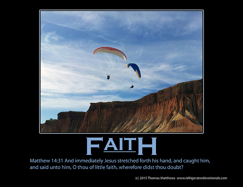 Faith: Matthew 14:31 And immediately Jesus stretched forth his hand, and caught him, and said unto him, O thou of little faith, wherefore didst thou doubt?