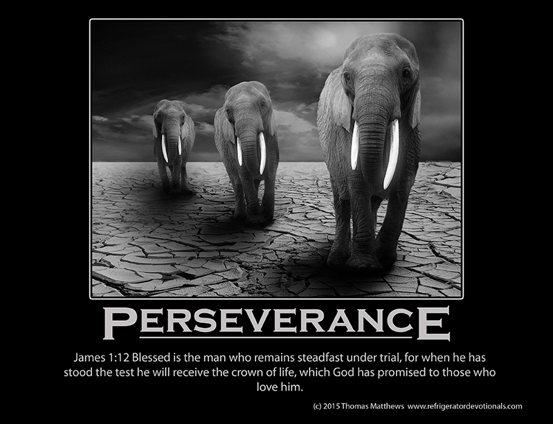 Perseverance: James 1:12 Blessed is the man who remains steadfast under trial, for when he has stood the test he will receive the crown of life, which God has promised to those who love him.